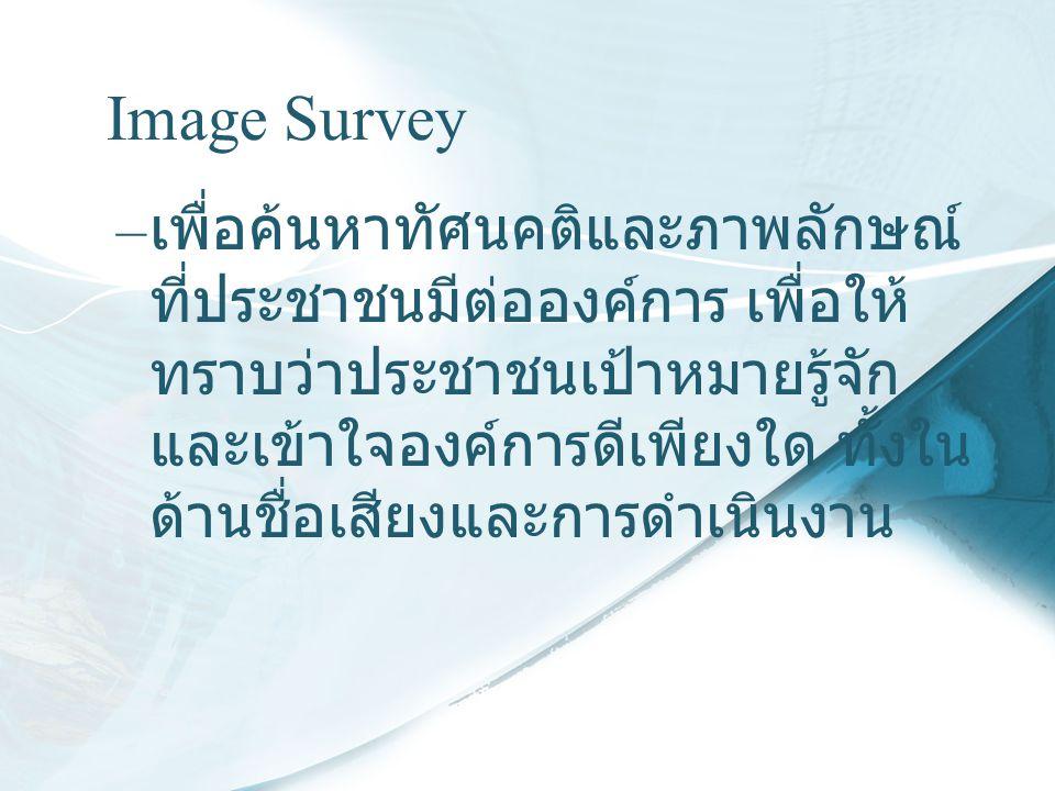 Image Survey – เพื่อค้นหาทัศนคติและภาพลักษณ์ ที่ประชาชนมีต่อองค์การ เพื่อให้ ทราบว่าประชาชนเป้าหมายรู้จัก และเข้าใจองค์การดีเพียงใด ทั้งใน ด้านชื่อเสี