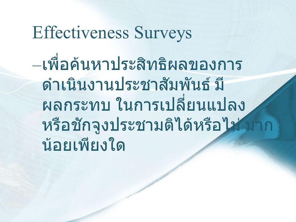 Effectiveness Surveys – เพื่อค้นหาประสิทธิผลของการ ดำเนินงานประชาสัมพันธ์ มี ผลกระทบ ในการเปลี่ยนแปลง หรือชักจูงประชามติได้หรือไม่ มาก น้อยเพียงใด