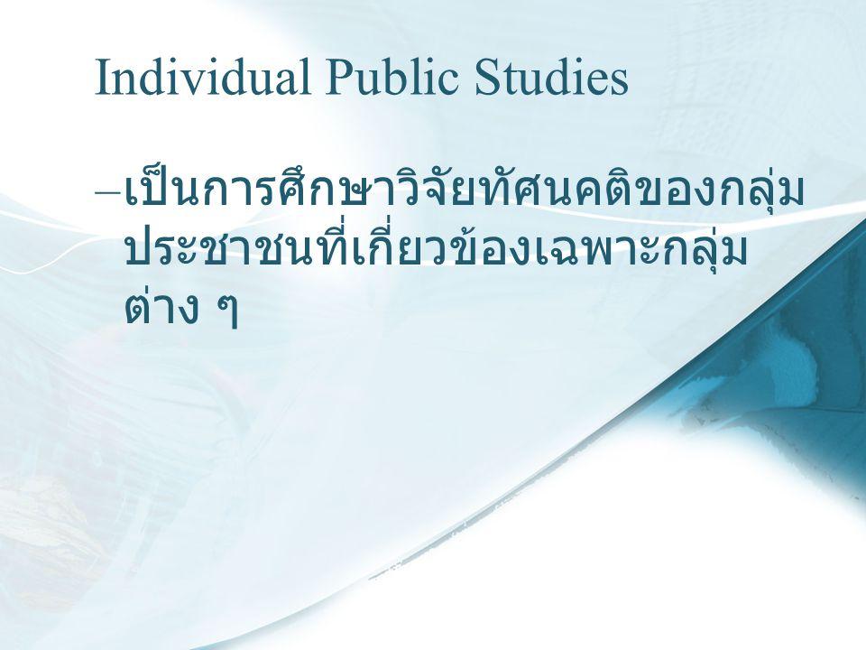 Individual Public Studies – เป็นการศึกษาวิจัยทัศนคติของกลุ่ม ประชาชนที่เกี่ยวข้องเฉพาะกลุ่ม ต่าง ๆ