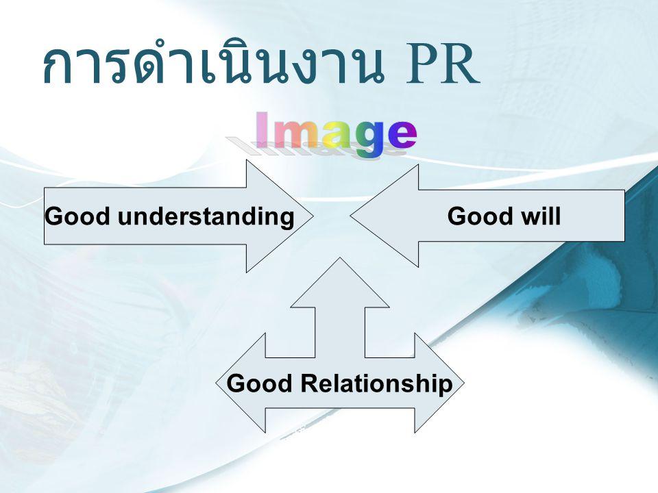 การดำเนินงาน PR Good understanding Good will Good Relationship