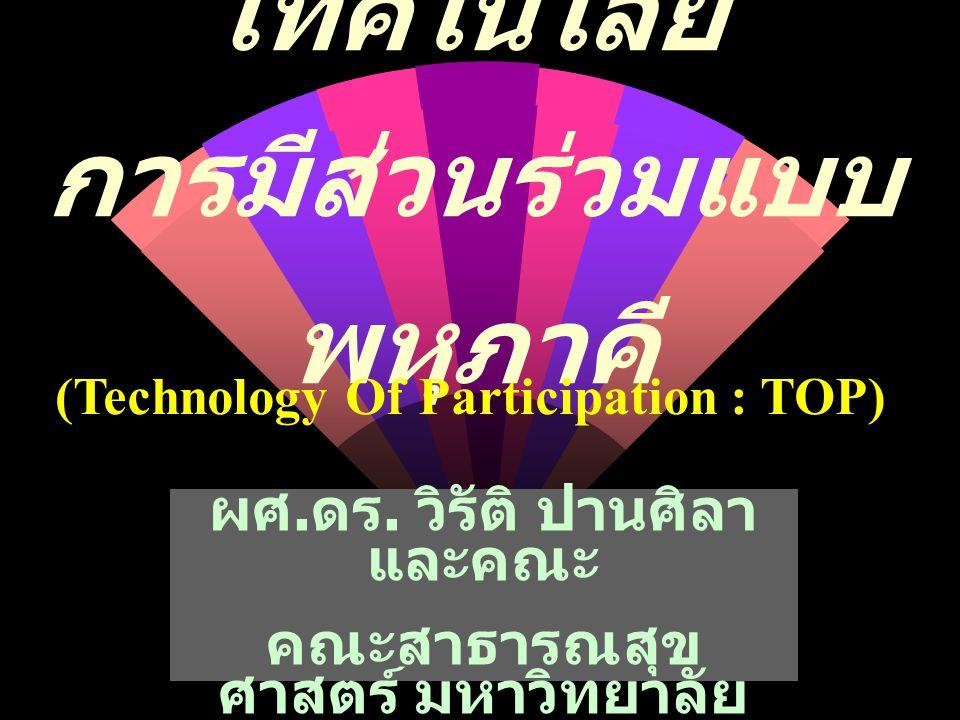 เทคโนโลยี การมีส่วนร่วมแบบ พหุภาคี (Technology Of Participation : TOP) ผศ. ดร. วิรัติ ปานศิลา และคณะ คณะสาธารณสุข ศาสตร์ มหาวิทยาลัย มหาสารคาม
