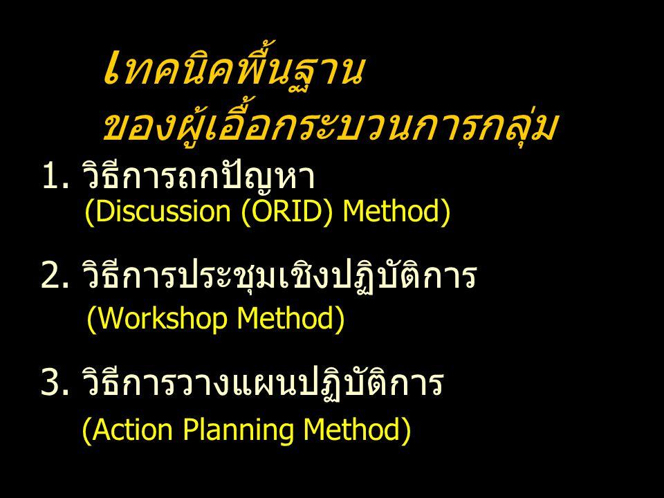 1. วิธีการถกปัญหา (Discussion (ORID) Method) 2. วิธีการประชุมเชิงปฏิบัติการ (Workshop Method) 3. วิธีการวางแผนปฏิบัติการ (Action Planning Method) เ ทค