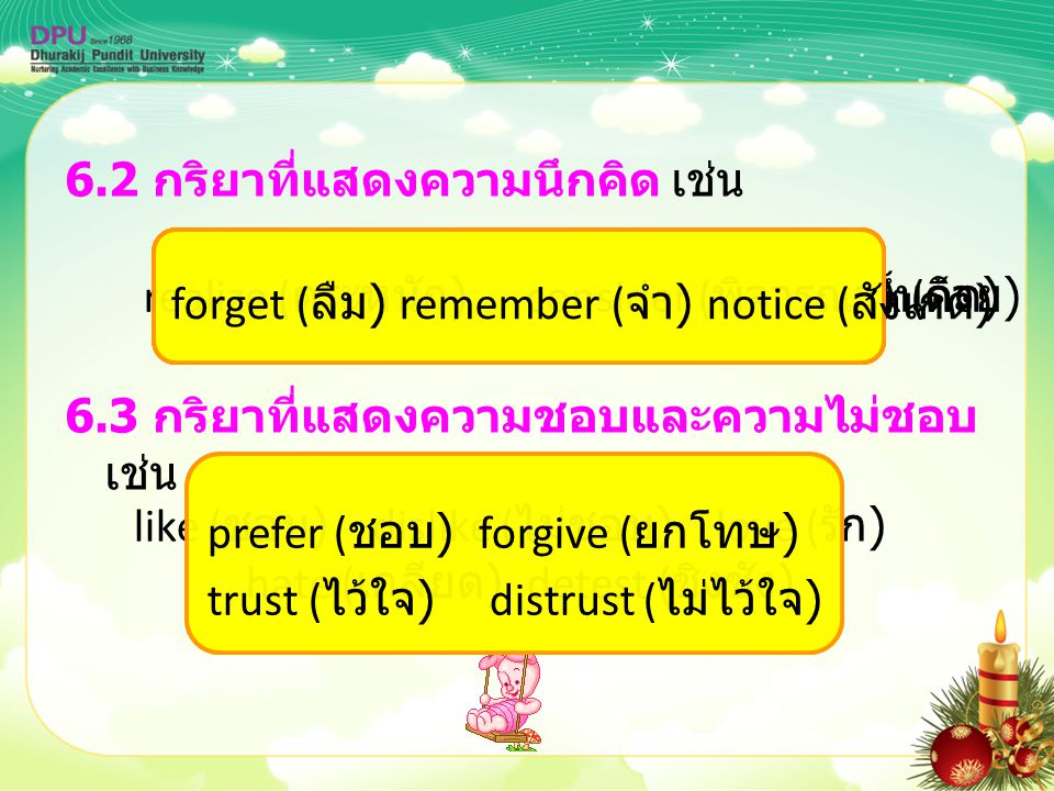 6.2 กริยาที่แสดงความนึกคิด เช่น 6.3 กริยาที่แสดงความชอบและความไม่ชอบ เช่น know ( รู้ ) understand ( เข้าใจ ) think ( คิด )believe ( เชื่อ ) doubt ( สง