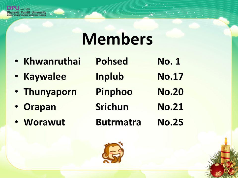 Members Khwanruthai PohsedNo. 1 Kaywalee InplubNo.17 Thunyaporn Pinphoo No.20 Orapan Srichun No.21 Worawut Butrmatra No.25