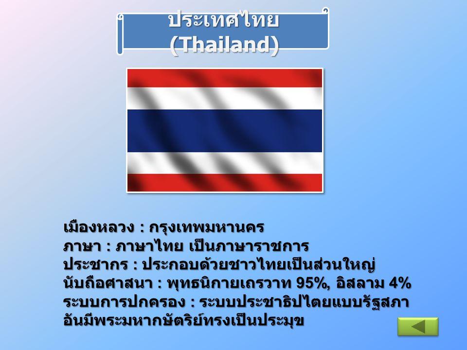 เมืองหลวง : กรุงเทพมหานคร ภาษา : ภาษาไทย เป็นภาษาราชการ ประชากร : ประกอบด้วยชาวไทยเป็นส่วนใหญ่ นับถือศาสนา : พุทธนิกายเถรวาท 95%, อิสลาม 4% ระบบการปกค