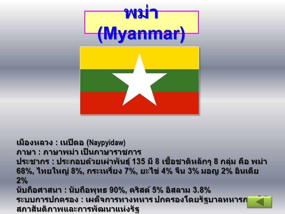 พม่า (Myanmar) เมืองหลวง : เนปีดอ (Naypyidaw) ภาษา : ภาษาพม่า เป็นภาษาราชการ ประชากร : ประกอบด้วยเผ่าพันธุ์ 135 มี 8 เชื้อชาติหลักๆ 8 กลุ่ม คือ พม่า 6