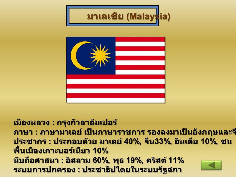 มาเลเซีย (Malaysia) เมืองหลวง : กรุงกัวลาลัมเปอร์ ภาษา : ภาษามาเลย์ เป็นภาษาราชการ รองลงมาเป็นอังกฤษและจีน ประชากร : ประกอบด้วย มาเลย์ 40%, จีน 33%, อ