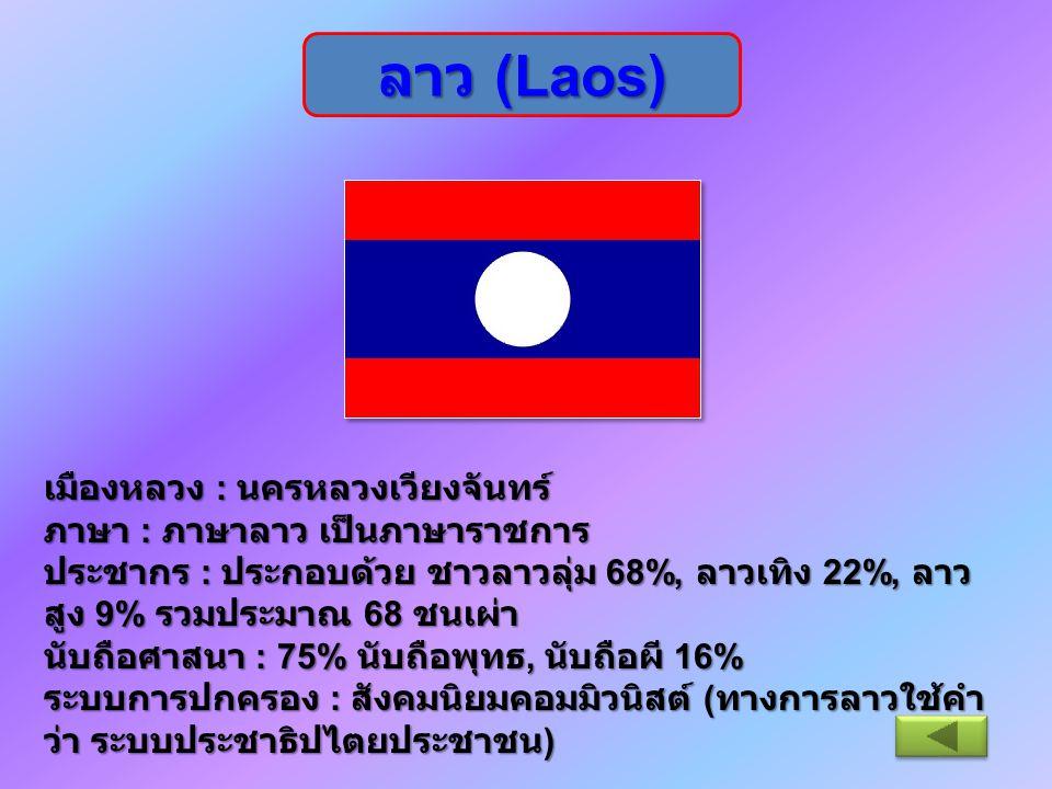 ลาว (Laos) เมืองหลวง : นครหลวงเวียงจันทร์ ภาษา : ภาษาลาว เป็นภาษาราชการ ประชากร : ประกอบด้วย ชาวลาวลุ่ม 68%, ลาวเทิง 22%, ลาว สูง 9% รวมประมาณ 68 ชนเผ