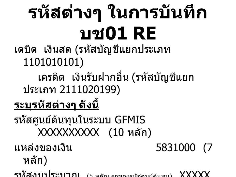 รหัสต่างๆ ในการบันทึก บช 01 JR เดบิต เงินฝากไม่มีรายตัว ( รหัสบัญชีแยกประเภท 1101030199) เครดิต เงินสด ( รหัสบัญชีแยกประเภท 1101010101) ระบุรหัสต่างๆ ดังนี้ รหัสศูนย์ต้นทุนในระบบ GFMIS XXXXXXXXXX(10 หลัก ) แหล่งของเงิน 5831000(7 หลัก ) รหัสงบประมาณ (5 หลักแรกของรหัสศูนย์ต้นทุน ) XXXXX (5 หลัก ) กิจกรรมหลัก P1900 (5 หลัก ) ( การอ้างอิง – เป็นเอกสารควบคุมภายในของ หน่วยงานใส่ได้ 16 หลัก )