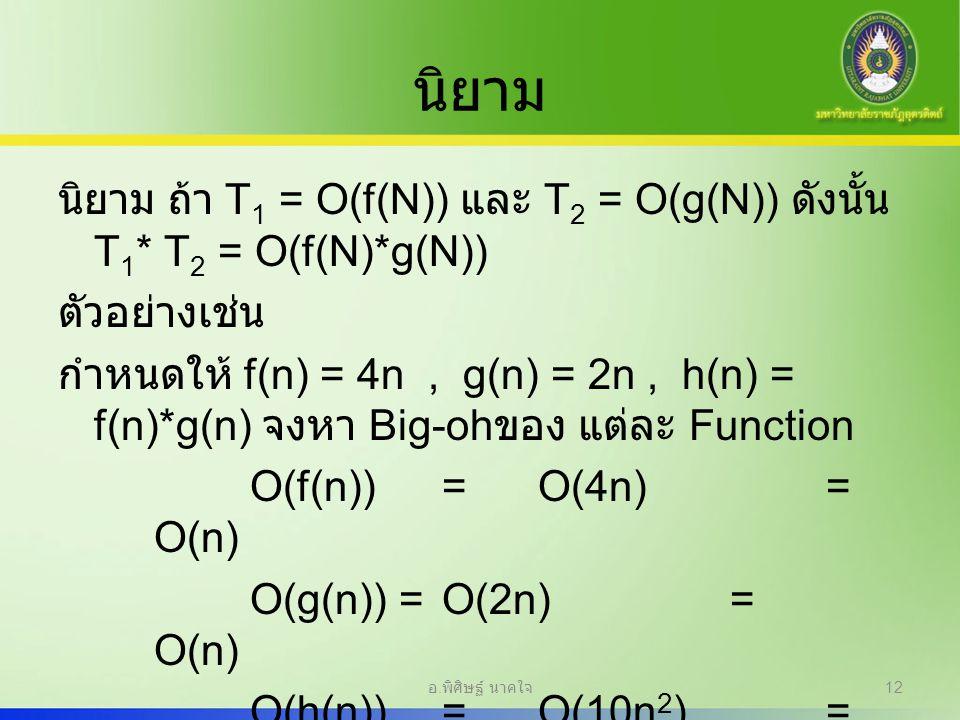 นิยาม นิยาม ถ้า T 1 = O(f(N)) และ T 2 = O(g(N)) ดังนั้น T 1 * T 2 = O(f(N)*g(N)) ตัวอย่างเช่น กำหนดให้ f(n) = 4n, g(n) = 2n, h(n) = f(n)*g(n) จงหา Big