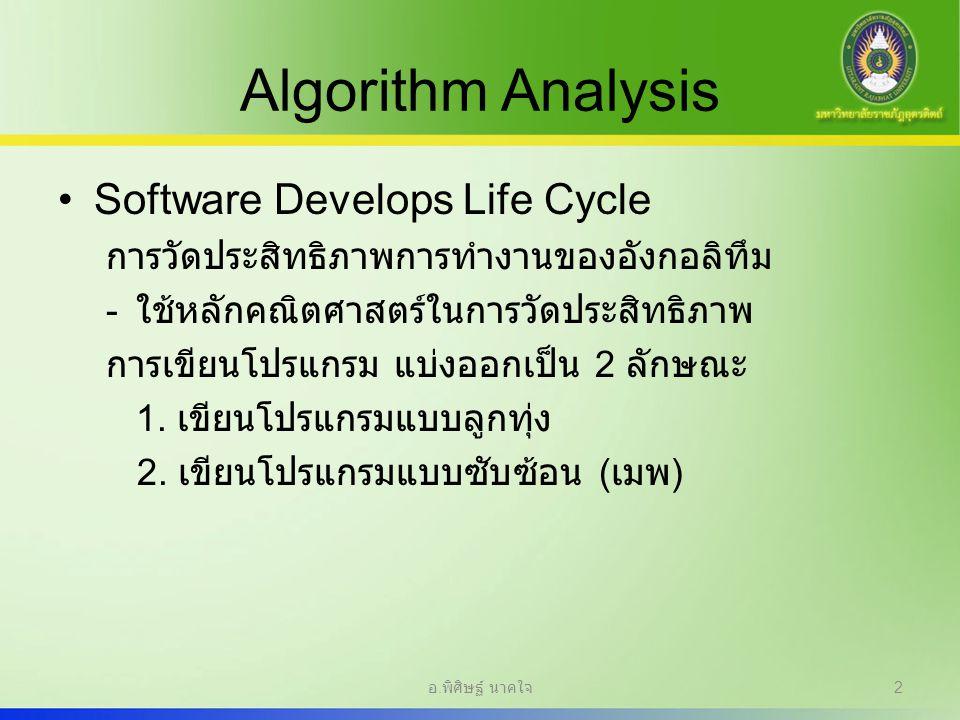 Algorithm Analysis Software Develops Life Cycle การวัดประสิทธิภาพการทำงานของอังกอลิทึม - ใช้หลักคณิตศาสตร์ในการวัดประสิทธิภาพ การเขียนโปรแกรม แบ่งออกเ