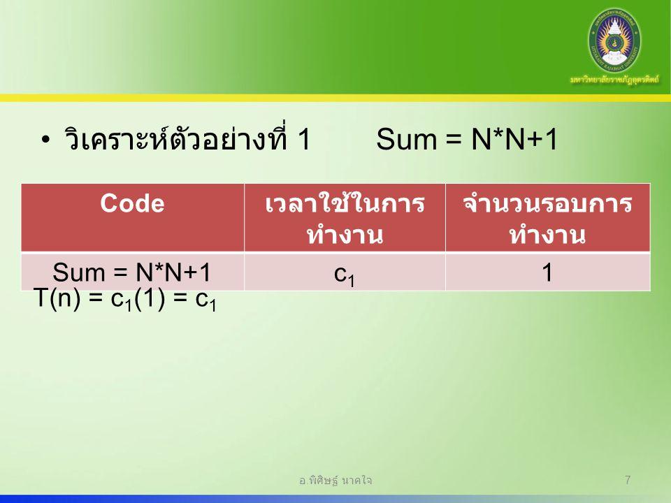 วิเคราะห์ตัวอย่างที่ 1Sum = N*N+1 Code เวลาใช้ในการ ทำงาน จำนวนรอบการ ทำงาน Sum = N*N+1c1c1 1 T(n) = c 1 (1) = c 1 อ. พิศิษฐ์ นาคใจ 7