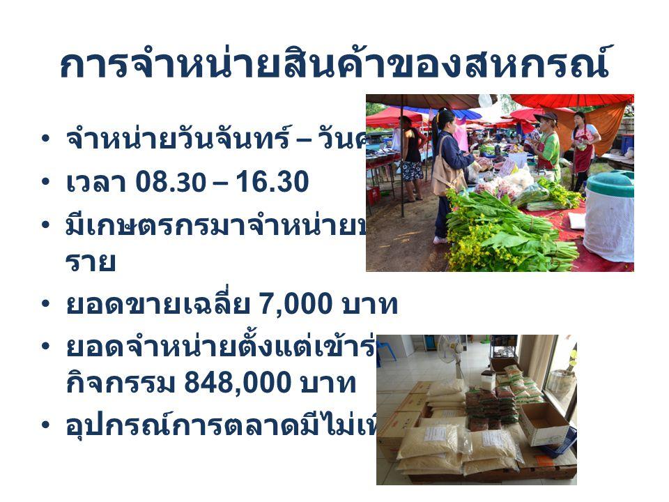การจำหน่ายสินค้าของสหกรณ์ จำหน่ายวันจันทร์ – วันศุกร์ เวลา 08.30 – 16.30 มีเกษตรกรมาจำหน่ายประจำ 5 ราย ยอดขายเฉลี่ย 7,000 บาท ยอดจำหน่ายตั้งแต่เข้าร่ว