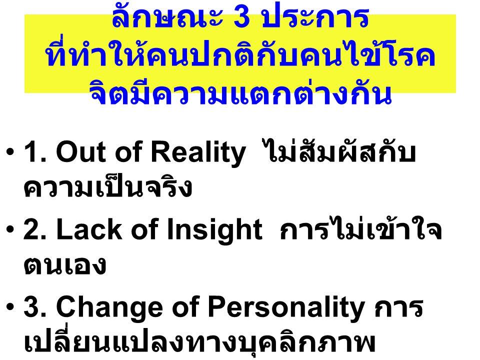 ลักษณะ 3 ประการ ที่ทำให้คนปกติกับคนไข้โรค จิตมีความแตกต่างกัน 1. Out of Reality ไม่สัมผัสกับ ความเป็นจริง 2. Lack of Insight การไม่เข้าใจ ตนเอง 3. Cha