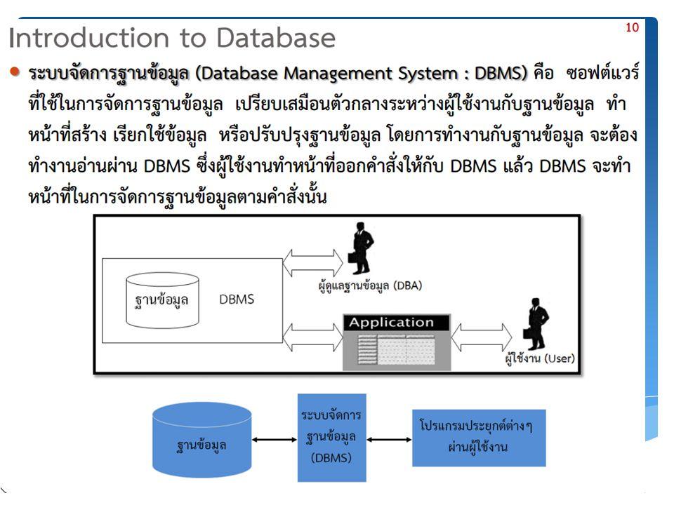อธิบายในส่วนต่างๆ ได้ดังนี้  - ฟิลด์ สำหรับใส่ชื่อฟิลด์  - ชนิด สำหรับเลือกชนิดของข้อมูลที่ต้องการเก็บในฟิลด์นั้น - ความยาว / เซต สำหรับกำหนดขนาดของข้อมูล  - แอตทริบิวต์ สำหรับเลือกลักษณะเฉพาะของข้อมูลที่จะเก็บ เช่น ตัวเลขแบบคิด เครื่องหมาย บวกหรือลบ เป็นต้น  - ค่าว่าเปล่า (null) สำหรับเลือกว่า ฟิลด์นั้นสามารถใส่ค่าว่างได้หรือไม่  - ค่าปริยาย สำหรับกำหนดค่าเริ่มต้นของฟิลด์ ( ค่า Default)  - เพิ่มเติม สำหรับกำหนดค่าเพิ่มเติม เช่น กรณีที่ฟิลด์เก็บข้อมูลตัวเลขจำนวนเต็ม (Integer) จะสามารถเลือกให้มีการเพิ่มค่าอัตโนมัติ (auto_increment) ได้ เป็นต้น  - ไพรมารี เลือกเมื่อต้องการกำหนดให้ฟิลด์นั้นๆ เป็นไพรมารีคีย์ (Primary Key)  - เอกลักษณ์ เลือกเมื่อต้องการให้ฟิลด์นั้นเป็น Unique