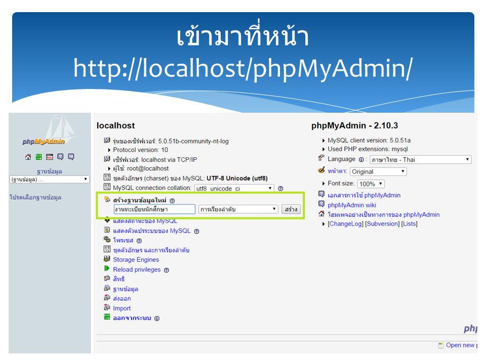 เข้ามาที่หน้า http://localhost/phpMyAdmin/