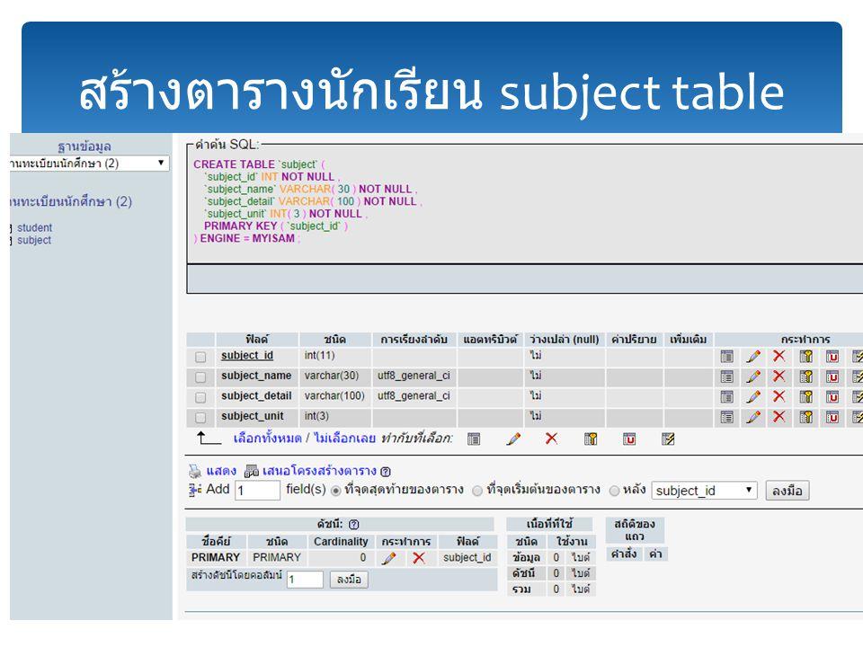 สร้างตารางนักเรียน subject table