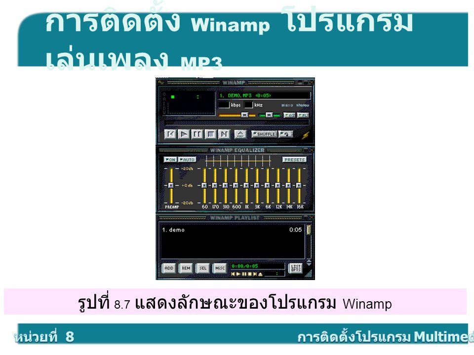 รูปที่ 8.7 แสดงลักษณะของโปรแกรม Winamp การติดตั้ง Winamp โปรแกรม เล่นเพลง MP3