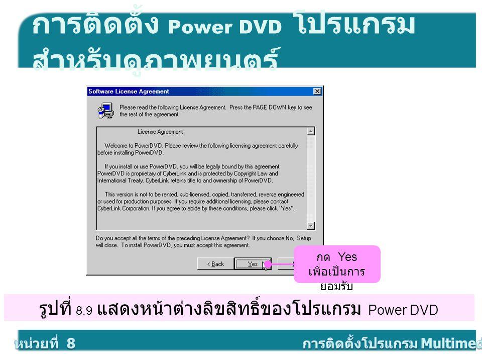 รูปที่ 8.9 แสดงหน้าต่างลิขสิทธิ์ของโปรแกรม Power DVD การติดตั้ง Power DVD โปรแกรม สำหรับดูภาพยนตร์ กด Yes เพื่อเป็นการ ยอมรับ