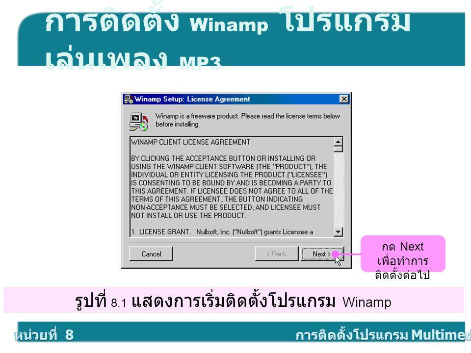 รูปที่ 8.1 แสดงการเริ่มติดตั้งโปรแกรม Winamp การติดตั้ง Winamp โปรแกรม เล่นเพลง MP3 กด Next เพื่อทำการ ติดตั้งต่อไป