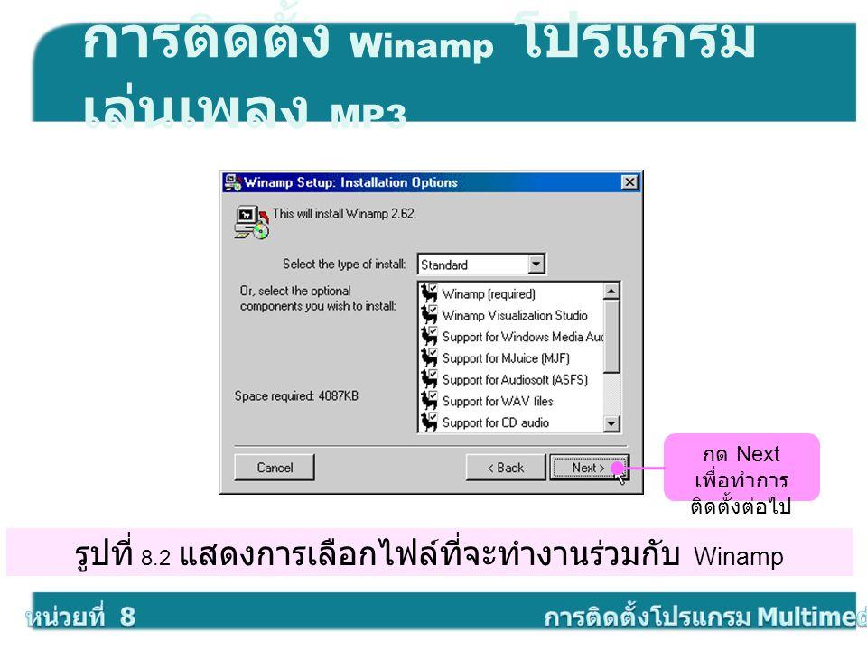 รูปที่ 8.2 แสดงการเลือกไฟล์ที่จะทำงานร่วมกับ Winamp การติดตั้ง Winamp โปรแกรม เล่นเพลง MP3 กด Next เพื่อทำการ ติดตั้งต่อไป