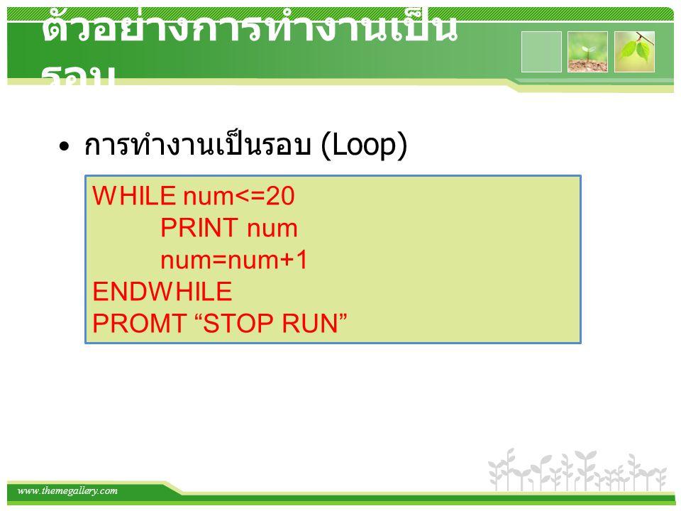 "www.themegallery.com ตัวอย่างการทำงานเป็น รอบ การทำงานเป็นรอบ (Loop) WHILE num<=20 PRINT num num=num+1 ENDWHILE PROMT ""STOP RUN"""