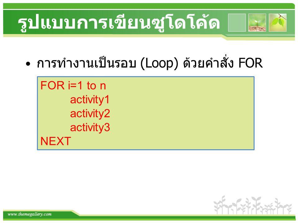 www.themegallery.com รูปแบบการเขียนซูโดโค้ด การทำงานเป็นรอบ (Loop) ด้วยคำสั่ง FOR FOR i=1 to n activity1 activity2 activity3 NEXT
