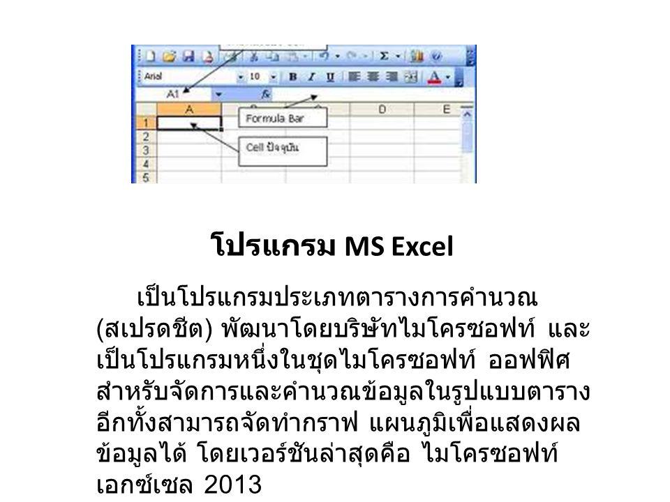 โปรแกรม MS Excel เป็นโปรแกรมประเภทตารางการคำนวณ ( สเปรดชีต ) พัฒนาโดยบริษัทไมโครซอฟท์ และ เป็นโปรแกรมหนึ่งในชุดไมโครซอฟท์ ออฟฟิศ สำหรับจัดการและคำนวณข้อมูลในรูปแบบตาราง อีกทั้งสามารถจัดทำกราฟ แผนภูมิเพื่อแสดงผล ข้อมูลได้ โดยเวอร์ชันล่าสุดคือ ไมโครซอฟท์ เอกซ์เซล 2013