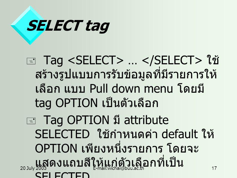 20 July 2003E-mail:wichai@buu.ac.th17 SELECT tag  Tag … ใช้ สร้างรูปแบบการรับข้อมูลที่มีรายการให้ เลือก แบบ Pull down menu โดยมี tag OPTION เป็นตัวเลือก  Tag OPTION มี attribute SELECTED ใช้กำหนดค่า default ให้ OPTION เพียงหนึ่งรายการ โดยจะ แสดงแถบสีให้แก่ตัวเลือกที่เป็น SELECTED