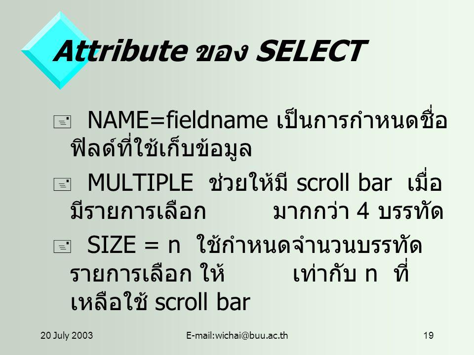 20 July 2003E-mail:wichai@buu.ac.th19 Attribute ของ SELECT  NAME=fieldname เป็นการกำหนดชื่อ ฟิลด์ที่ใช้เก็บข้อมูล  MULTIPLE ช่วยให้มี scroll bar เมื่อ มีรายการเลือก มากกว่า 4 บรรทัด  SIZE = n ใช้กำหนดจำนวนบรรทัด รายการเลือก ให้ เท่ากับ n ที่ เหลือใช้ scroll bar