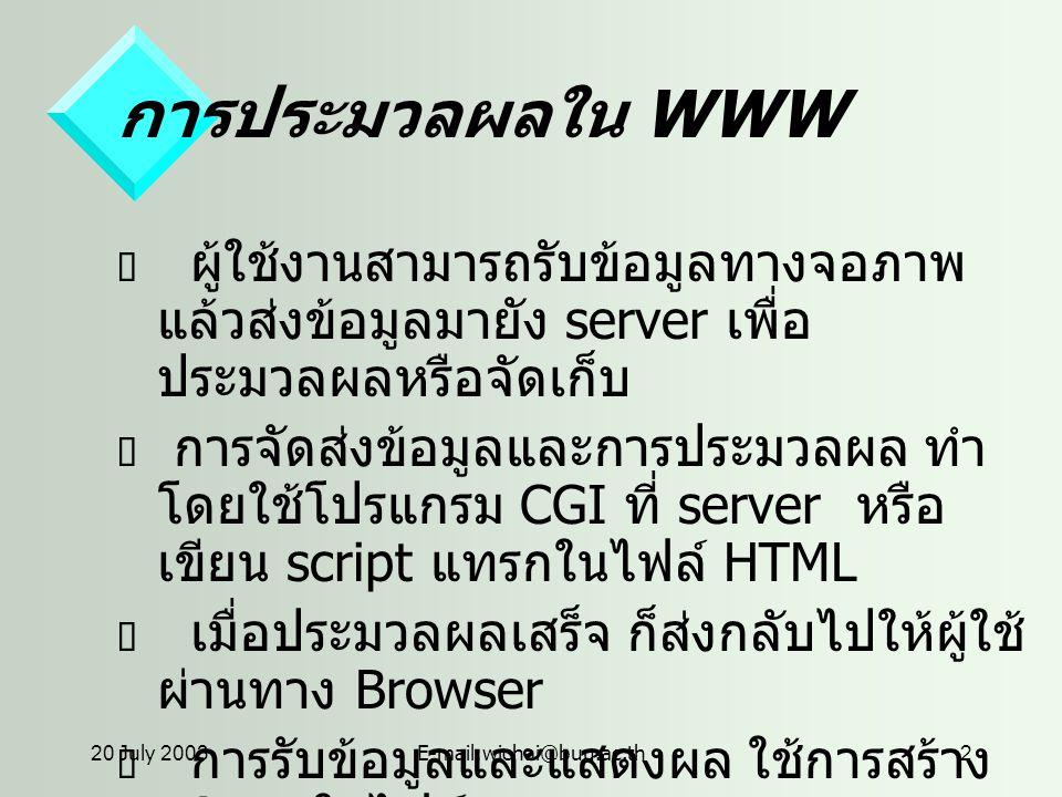 20 July 2003E-mail:wichai@buu.ac.th2 การประมวลผลใน WWW  ผู้ใช้งานสามารถรับข้อมูลทางจอภาพ แล้วส่งข้อมูลมายัง server เพื่อ ประมวลผลหรือจัดเก็บ  การจัดส่งข้อมูลและการประมวลผล ทำ โดยใช้โปรแกรม CGI ที่ server หรือ เขียน script แทรกในไฟล์ HTML  เมื่อประมวลผลเสร็จ ก็ส่งกลับไปให้ผู้ใช้ ผ่านทาง Browser  การรับข้อมูลและแสดงผล ใช้การสร้าง FORM ในไฟล์ HTML