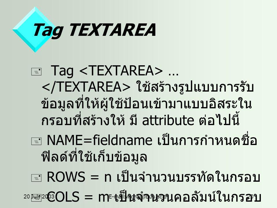 20 July 2003E-mail:wichai@buu.ac.th20 Tag TEXTAREA  Tag … ใช้สร้างรูปแบบการรับ ข้อมูลที่ให้ผู้ใช้ป้อนเข้ามาแบบอิสระใน กรอบที่สร้างให้ มี attribute ต่อไปนี้  NAME=fieldname เป็นการกำหนดชื่อ ฟิลด์ที่ใช้เก็บข้อมูล  ROWS = n เป็นจำนวนบรรทัดในกรอบ  COLS = m เป็นจำนวนคอลัมน์ในกรอบ