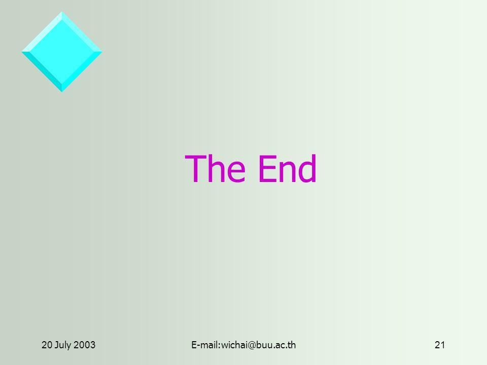 20 July 2003E-mail:wichai@buu.ac.th21 The End
