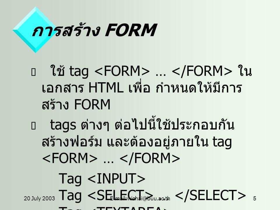 20 July 2003E-mail:wichai@buu.ac.th5 การสร้าง FORM  ใช้ tag … ใน เอกสาร HTML เพี่อ กำหนดให้มีการ สร้าง FORM  tags ต่างๆ ต่อไปนี้ใช้ประกอบกัน สร้างฟอร์ม และต้องอยู่ภายใน tag … Tag Tag …