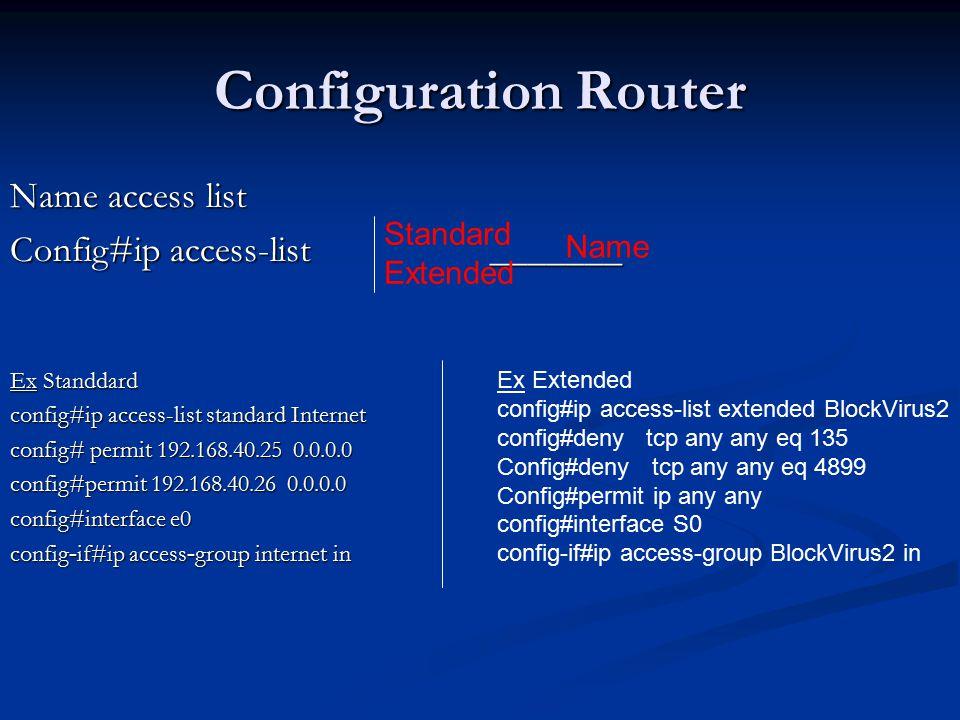 Name access list Config#ip access-list _______ Ex Standdard config#ip access-list standard Internet config# permit 192.168.40.25 0.0.0.0 config#permit