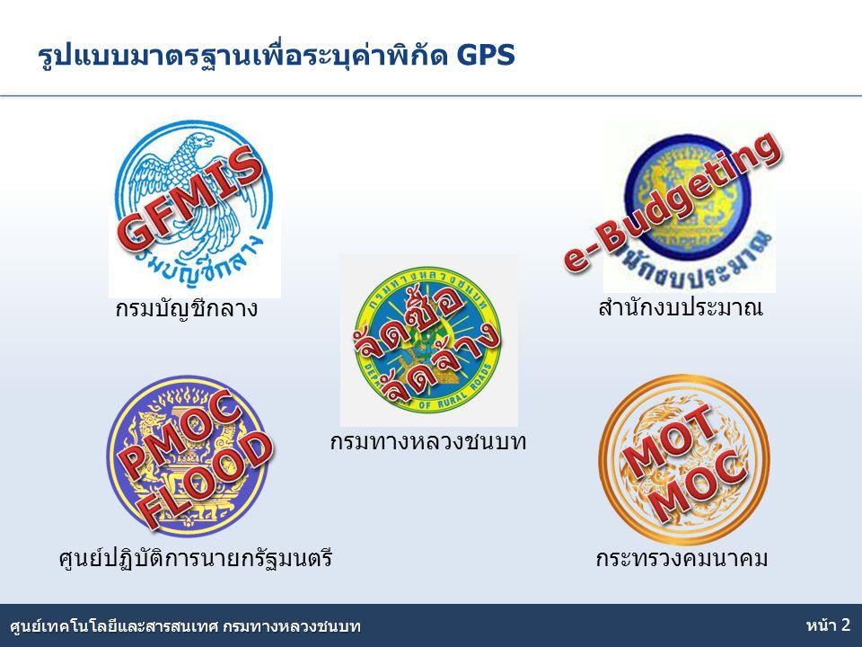 Here comes your footer ศูนย์เทคโนโลยีและสารสนเทศ กรมทางหลวงชนบท รูปแบบมาตรฐานเพื่อระบุค่าพิกัด GPS หน้า 2 ศูนย์ปฏิบัติการนายกรัฐมนตรี สำนักงบประมาณ กร