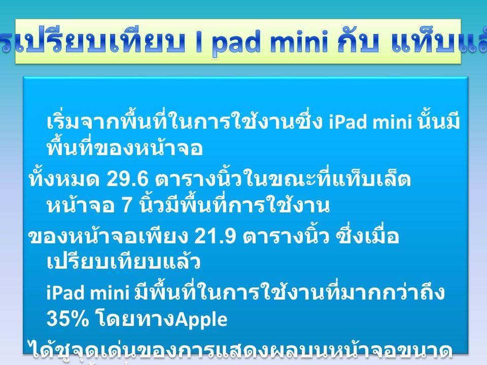iPad mini สามารถแสดงผลได้ดีกว่า แท็บเล็ตหน้าจอ 7 นิ้วยี่ห้ออื่นๆอีกด้วย นอกจากนี้ยังมีเว็บไซต์สื่อต่างประเทศ ที่ได้นำข้อมูลสเป็คของ iPad mini รวม ไปถึงแท็บเล็ตหน้าจอขนาด 7 นิ้วที่วาง จำหน่ายอยู่ในท้องตลาดในปัจจุบัน ไม่ ว่าจะเป็น Nexus 7 Kindle Fire และ Nook HD ออกมาให้เห็นกันอย่างชัดเจน