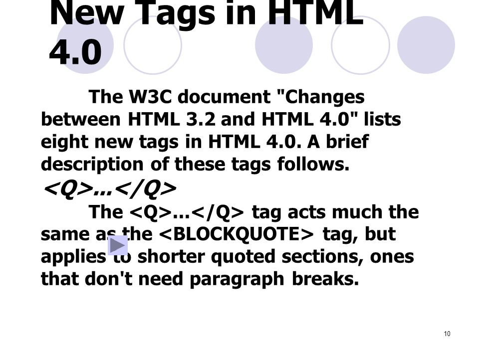 10 The W3C document Changes between HTML 3.2 and HTML 4.0 lists eight new tags in HTML 4.0.