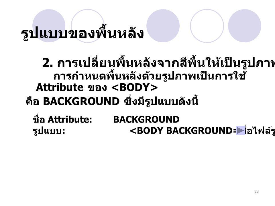 23 การกำหนดพื้นหลังด้วยรูปภาพเป็นการใช้ Attribute ของ คือ BACKGROUND ซึ่งมีรูปแบบดังนี้ 2. การเปลี่ยนพื้นหลังจากสีพื้นให้เป็นรูปภาพ ชื่อ Attribute: BA