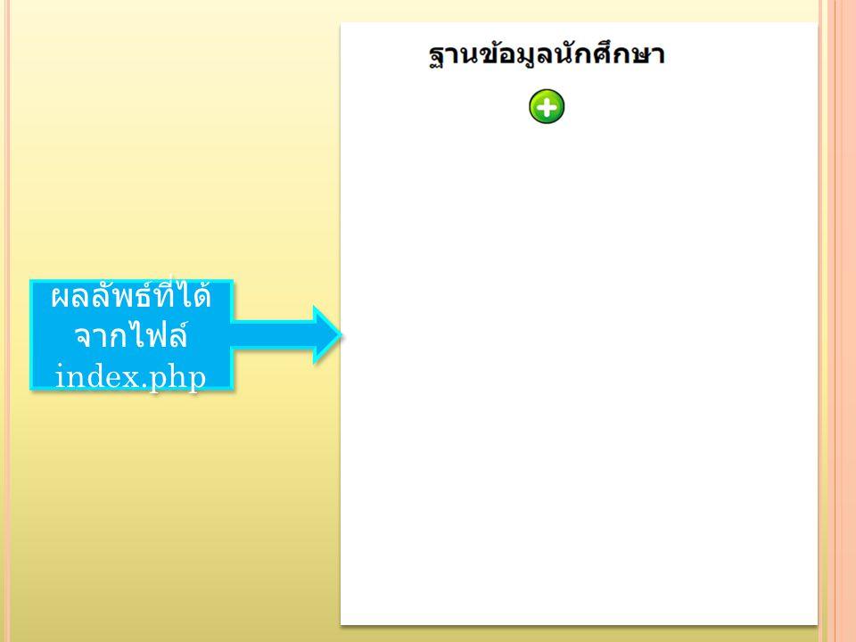 ผลลัพธ์ที่ได้ จากไฟล์ index.php ผลลัพธ์ที่ได้ จากไฟล์ index.php