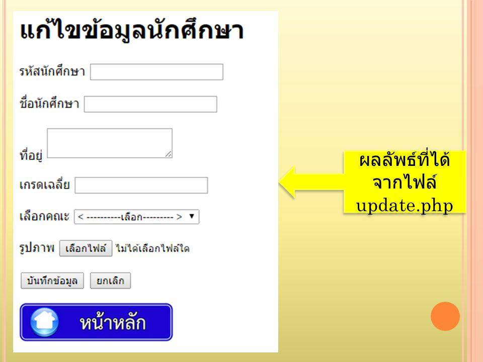 ผลลัพธ์ที่ได้ จากไฟล์ update.php ผลลัพธ์ที่ได้ จากไฟล์ update.php