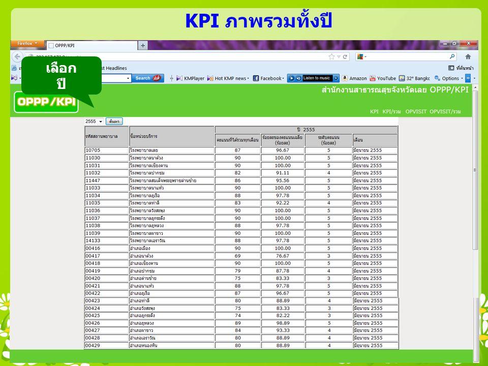 KPI ภาพรวมทั้งปี เลือก ปี