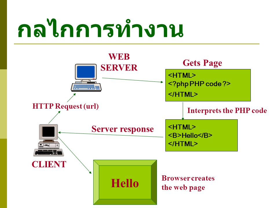 กลไกการทำงาน CLIENT WEB SERVER HTTP Request (url) Gets Page Hello Interprets the PHP code Server response Browser creates the web page Hello