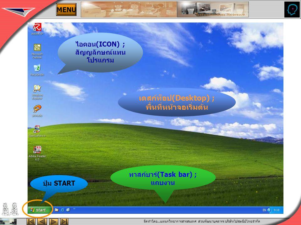 จัดทำโดย...แผนกวิทยาการสารสนเทศ ส่วนพัฒนาบุคลากร บริษัทไปรษณีย์ไทยจำกัด MENU เดสก์ท็อป(Desktop) ; พื้นที่หน้าจอเริ่มต้น ไอคอน(ICON) ; สัญญลักษณ์แทน โปรแกรม ทาสก์บาร์(Task bar) ; แถบงาน ปุ่ม START