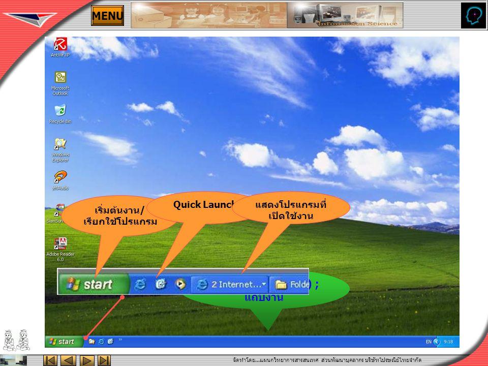 จัดทำโดย...แผนกวิทยาการสารสนเทศ ส่วนพัฒนาบุคลากร บริษัทไปรษณีย์ไทยจำกัด MENU ทาสก์บาร์(Task bar) ; แถบงาน เริ่มต้นงาน/ เรียกใช้โปรแกรม Quick Launchแสดงโปรแกรมที่ เปิดใช้งาน