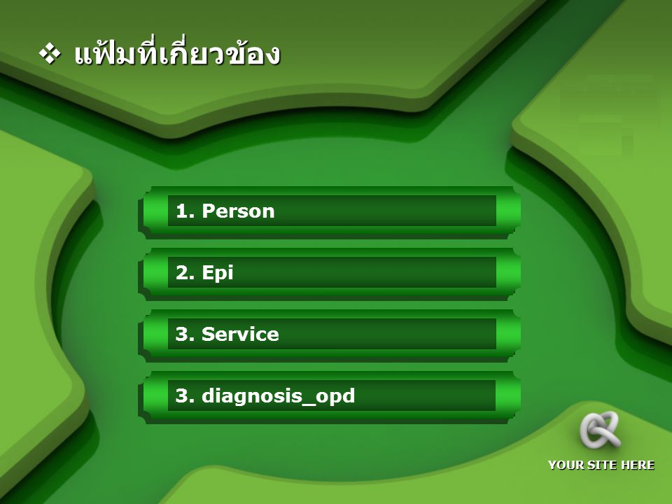 LOGO YOUR SITE HERE 1. Person2. Epi3. Service  แฟ้มที่เกี่ยวข้อง 3. diagnosis_opd
