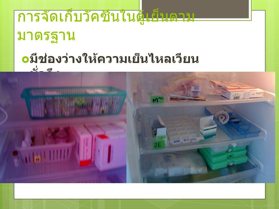 การจัดเก็บวัคซีนในตู้เย็นตาม มาตรฐาน  มีช่องว่างให้ความเย็นไหลเวียน ทั่วถึง