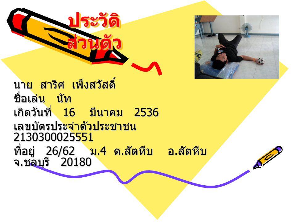 ประวัติ ส่วนตัว นาย สาริศ เพ็งสวัสดิ์ ชื่อเล่น นัท เกิดวันที่ 16 มีนาคม 2536 เลขบัตรประจำตัวประชาชน 2130300025551 ที่อยู่ 26/62 ม.4 ต.สัตหีบ อ.สัตหีบ