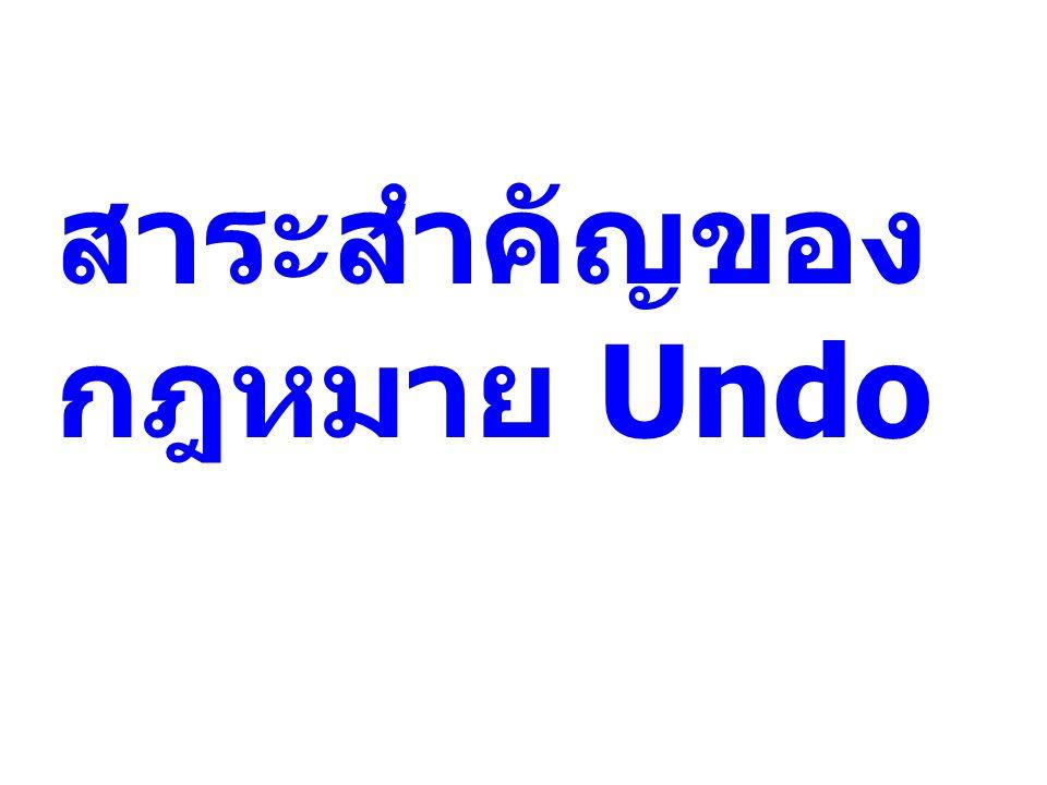 สาระสำคัญของ กฎหมาย Undo