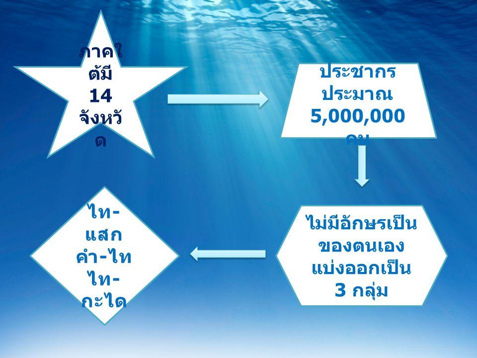 ภาคใ ต้มี 14 จังหวั ด ประชากร ประมาณ 5,000,000 คน ไม่มีอักษรเป็น ของตนเอง แบ่งออกเป็น 3 กลุ่ม ไท - แสก คำ - ไท ไท - กะได